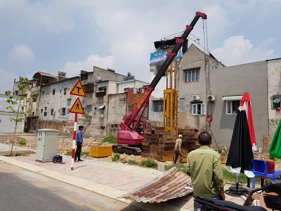 nhà bán đang thi công ép cọc tại khu dân cư phú hồng thịnh 6