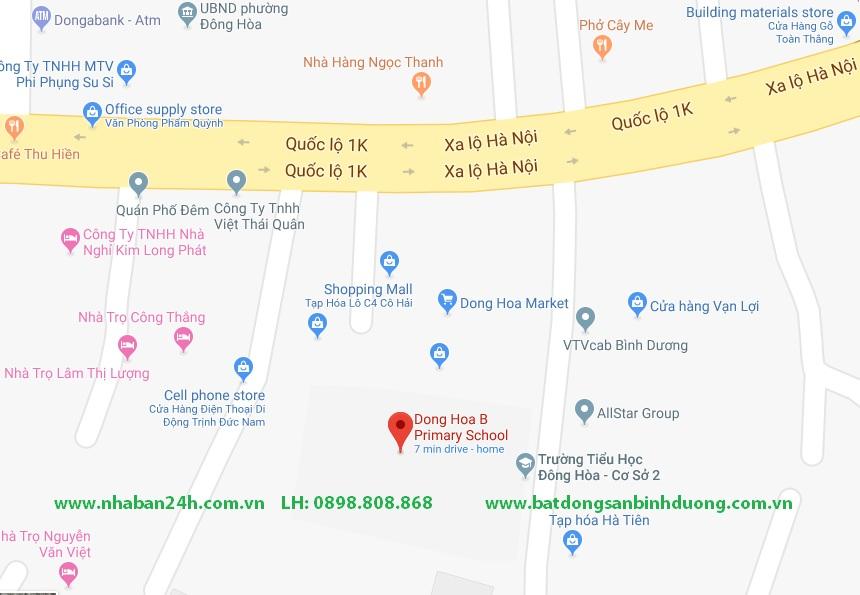 Bản đồ trường tiểu học Đông Hòa B