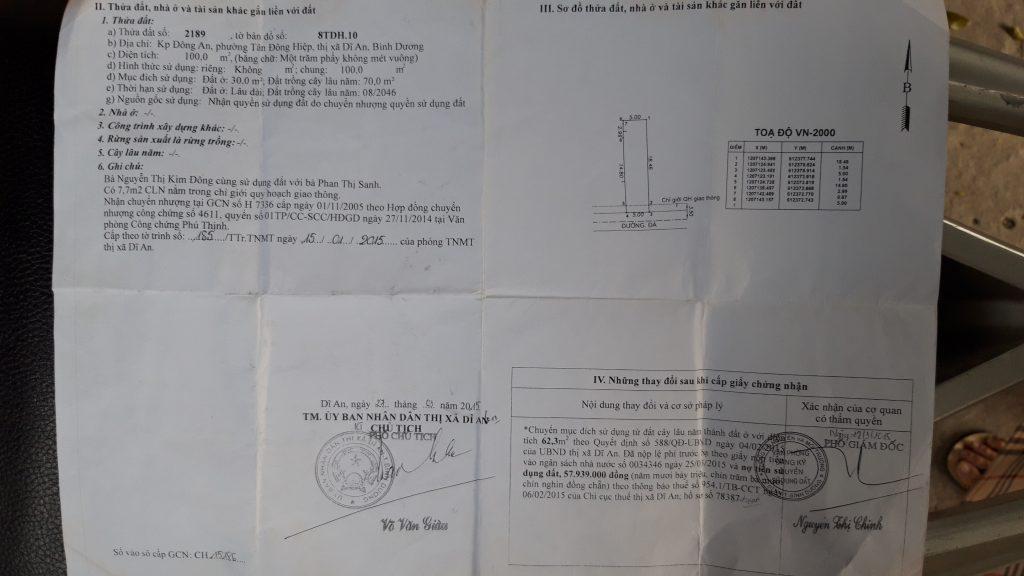 Bán đất Dĩ An, DT 5 x 20 ngay trung tâm y tế dĩ an bình dương