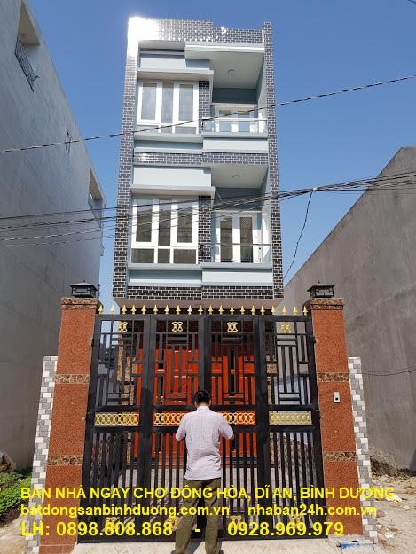 Bán nhà chợ Đông Hòa Dĩ An, bình dương, Nhà 3 lầu 108m