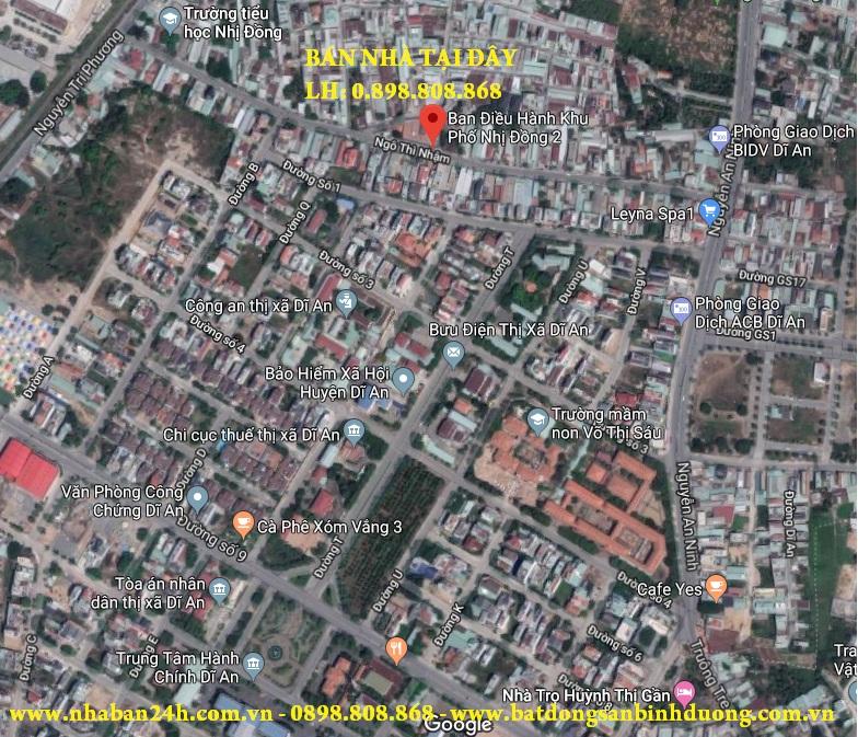 Bản đồ vị trí nhà bán dĩ an gần trung tâm hành chính