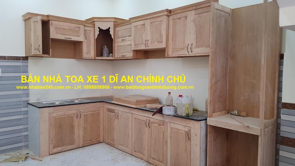 Tủ bếp nhà bán toa xe dĩ an gỗ sồi nga cao cấp
