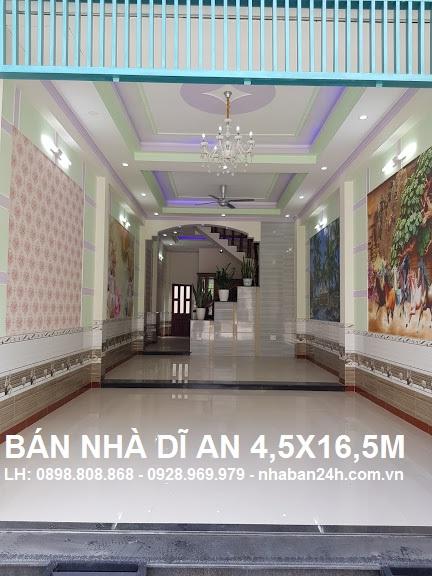 Bán nhà Dĩ An 3 tầng 4.5x16,5m trung tâm thị xã dĩ an